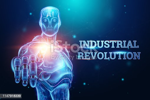1147918337 istock photo Blue Hologram of a robot, cyborg on a blue background, the inscription Industrial Revolution 4.0. The concept of autopilot, robotization, artificial intelligence. 3D illustration, 3D rendering. 1147918339