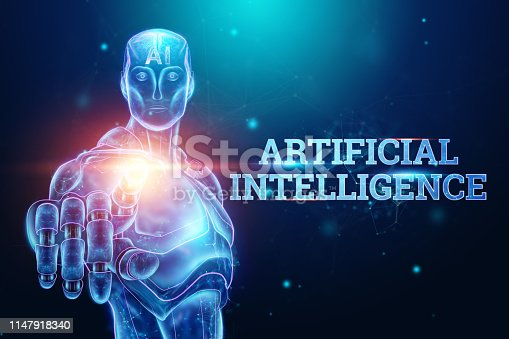 1147918337 istock photo Blue Hologram of a robot, cyborg on a blue background, the inscription artificial intelligence. Concept neural networks, robotization, industrial revolution 4.0. 3D illustration, 3D rendering. 1147918340