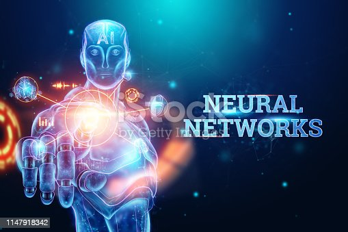 1147918337 istock photo Blue Hologram of a robot, cyborg on a blue background, the inscription neural networks. concept robotization, artificial intelligence, industrial revolution 4.0. 3D illustration, 3D rendering. 1147918342