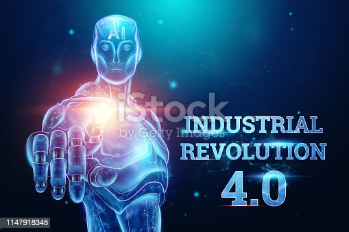 1147918337 istock photo Blue Hologram of a robot, cyborg on a blue background, the inscription Industrial Revolution 4.0. The concept of autopilot, robotization, artificial intelligence. 3D illustration, 3D rendering. 1147918345