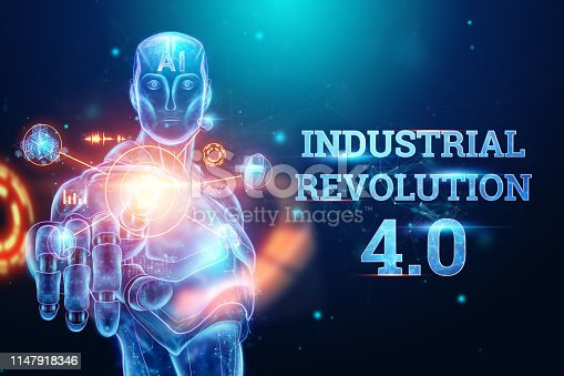 1147918337 istock photo Blue Hologram of a robot, cyborg on a blue background, the inscription Industrial Revolution 4.0. The concept of autopilot, robotization, artificial intelligence. 3D illustration, 3D rendering. 1147918346