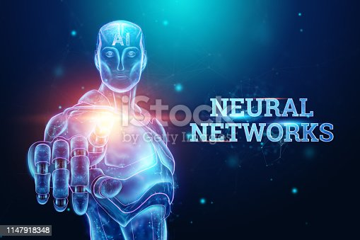 1147918337 istock photo Blue Hologram of a robot, cyborg on a blue background, the inscription neural networks. concept robotization, artificial intelligence, industrial revolution 4.0. 3D illustration, 3D rendering. 1147918348