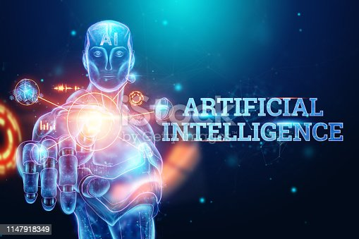 1147918337 istock photo Blue Hologram of a robot, cyborg on a blue background, the inscription artificial intelligence. Concept neural networks, robotization, industrial revolution 4.0. 3D illustration, 3D rendering. 1147918349