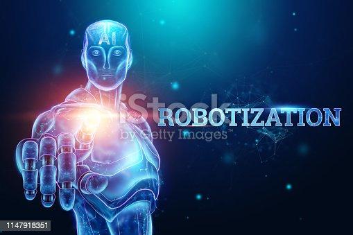 1147918337 istock photo Blue Hologram of a robot, cyborg on a blue background, the inscription robotization. Autopilot concept, robotization, artificial intelligence, industrial revolution 4.0. 3D illustration, 3D rendering 1147918351
