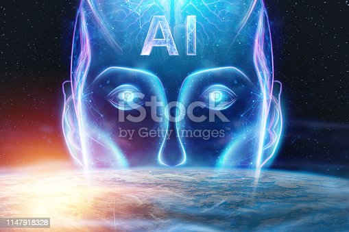 1147918337 istock photo Blue Hologram of a robot head, artificial intelligence against the background of the earth. Concept neural networks, autopilot, robotization, industrial revolution 4.0. 1147918328