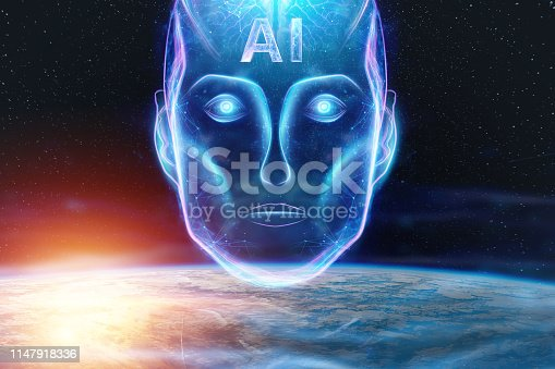 1147918337 istock photo Blue Hologram of a robot head, artificial intelligence against the background of the earth. Concept neural networks, autopilot, robotization, industrial revolution 4.0. 1147918336
