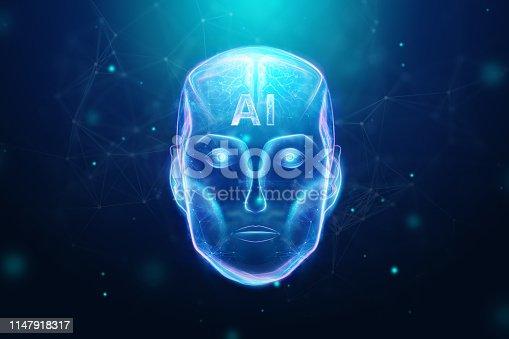 1147918337 istock photo Blue Hologram robot head, artificial intelligence on blue background. Concept neural networks, autopilot, robotization, industrial revolution 4.0. 3D illustration, 3D rendering. 1147918317