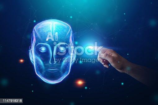 1147918337 istock photo Blue Hologram robot head, artificial intelligence on blue background. Concept neural networks, autopilot, robotization, industrial revolution 4.0. 1147918318