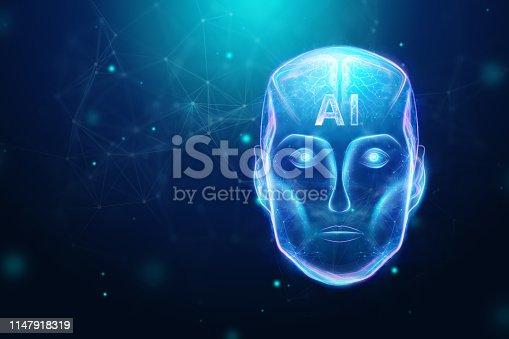 1147918337 istock photo Blue Hologram robot head, artificial intelligence on blue background. Concept neural networks, autopilot, robotization, industrial revolution 4.0. 3D illustration, 3D rendering. 1147918319