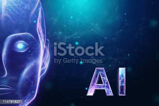 1147918337 istock photo Blue Hologram robot head, artificial intelligence on blue background. Concept neural networks, autopilot, robotization, industrial revolution 4.0. 3D illustration, 3D rendering. 1147918321