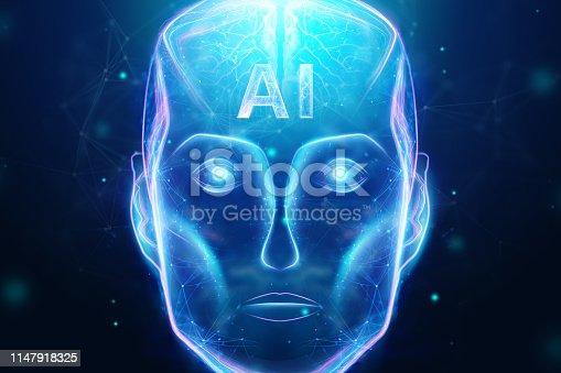 1147918337 istock photo Blue Hologram robot head, artificial intelligence on blue background. Concept neural networks, autopilot, robotization, industrial revolution 4.0. 3D illustration, 3D rendering. 1147918325