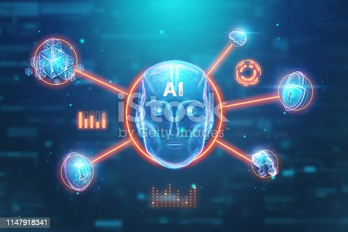 1147918337 istock photo Blue Hologram robot head, artificial intelligence on blue background. Concept neural networks, autopilot, robotization, industrial revolution 4.0. 3D illustration, 3D rendering. 1147918341