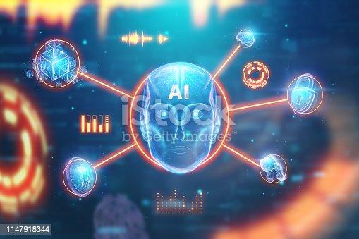 1147918337 istock photo Blue Hologram robot head, artificial intelligence on blue background. Concept neural networks, autopilot, robotization, industrial revolution 4.0. 3D illustration, 3D rendering. 1147918344