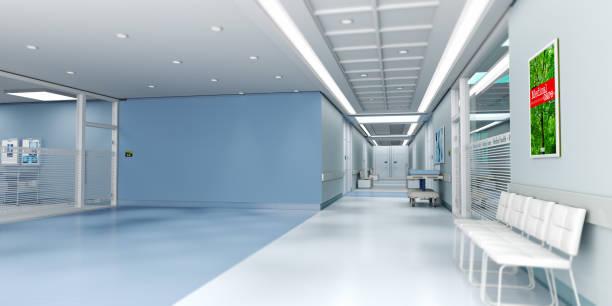 hospital azul con espacio de copia - hospital fotografías e imágenes de stock