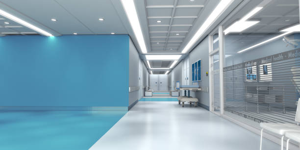 Blue hospital with copy space stock photo