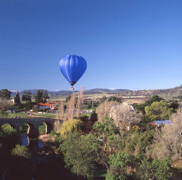 Blue hot air balloon stock photo
