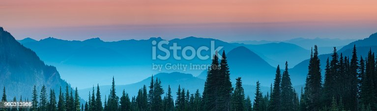 Blue hour after sunset over the Cascade mountains in Mount Rainier National Park, Washington.