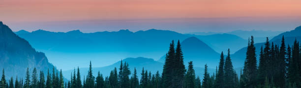 Blue hour after sunset over the Cascade mountains stock photo