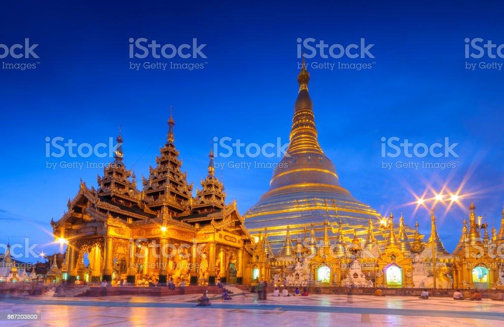 blue hour at golden Shwedagon Pagoda, Myanma stock photo