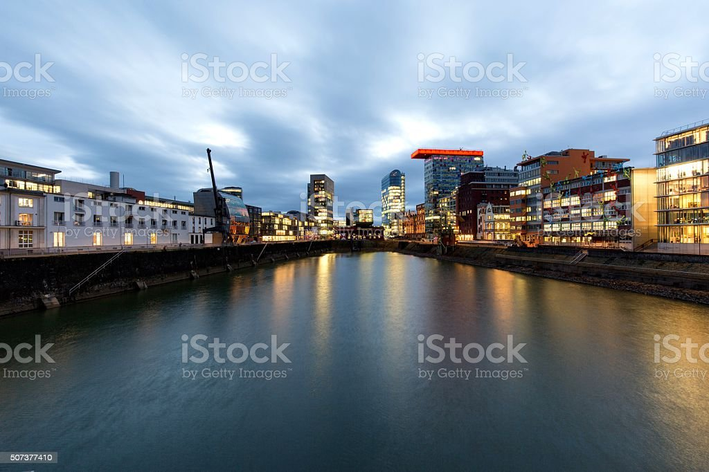 Blue Hour at Media Harbour stock photo