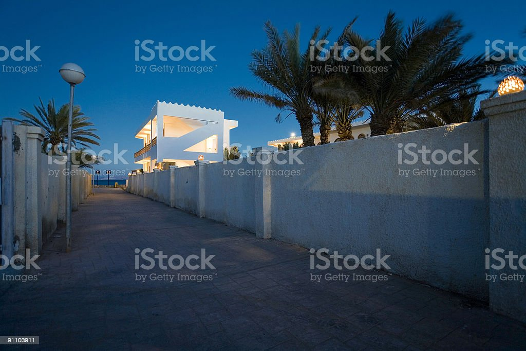 blue hour at red sea stock photo
