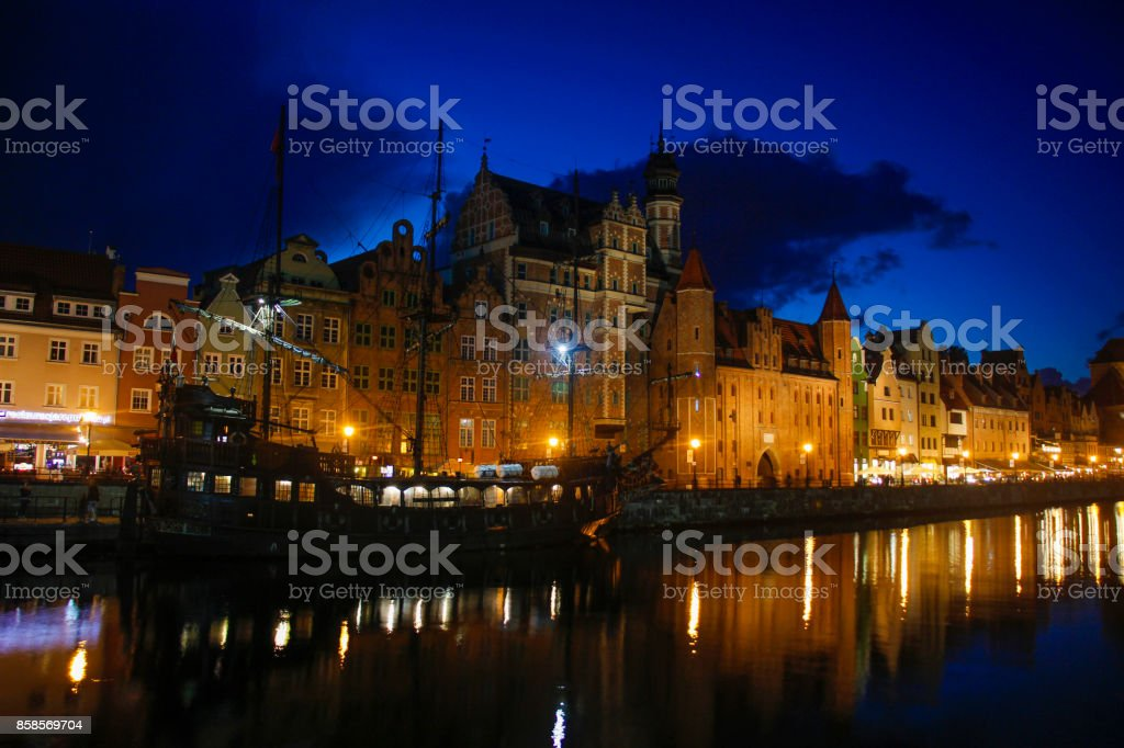 Blue hour at the waterfront in Gdansk stock photo