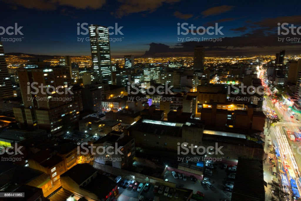 Blue hour Bogota Long Exposure stock photo