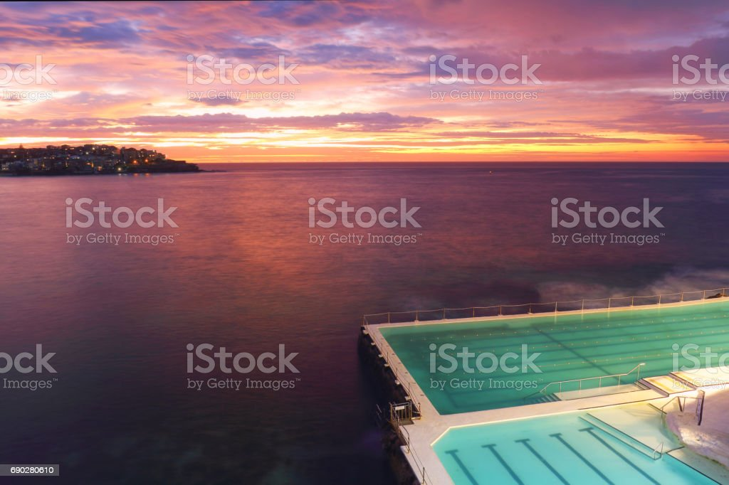 Blue Hour Bondi Pool stock photo