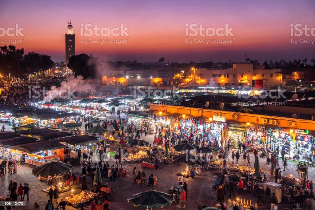 blue hour Djemaa El Fna Square Koutoubia Mosque Marrakech Morocco stock photo