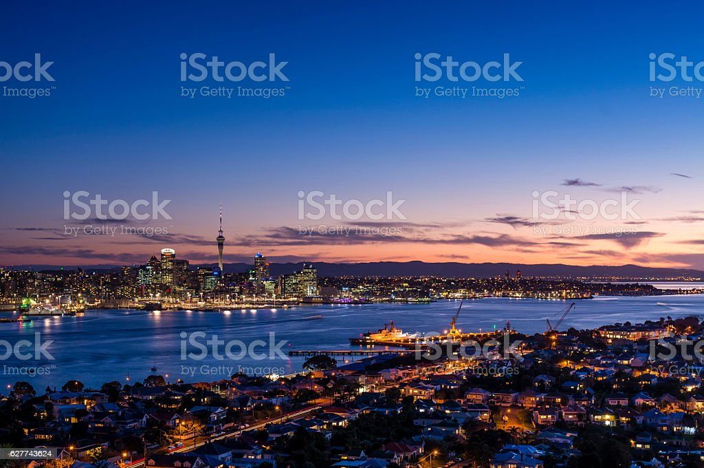 Blue Hour from Mount Victoria stock photo