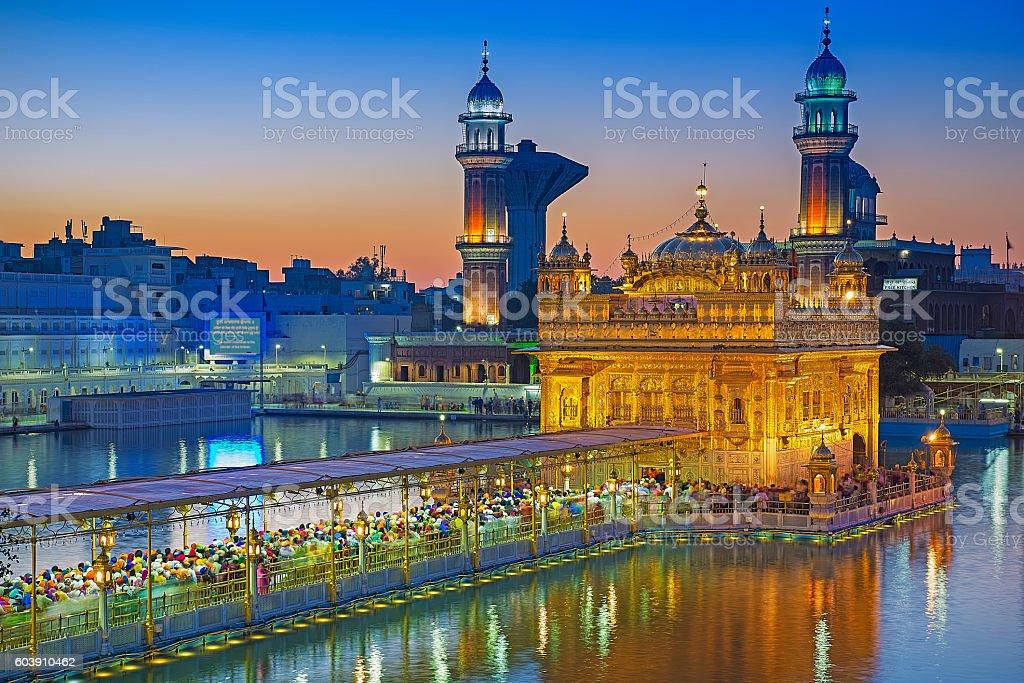 Blue Hour, Harmandir Sahib stock photo