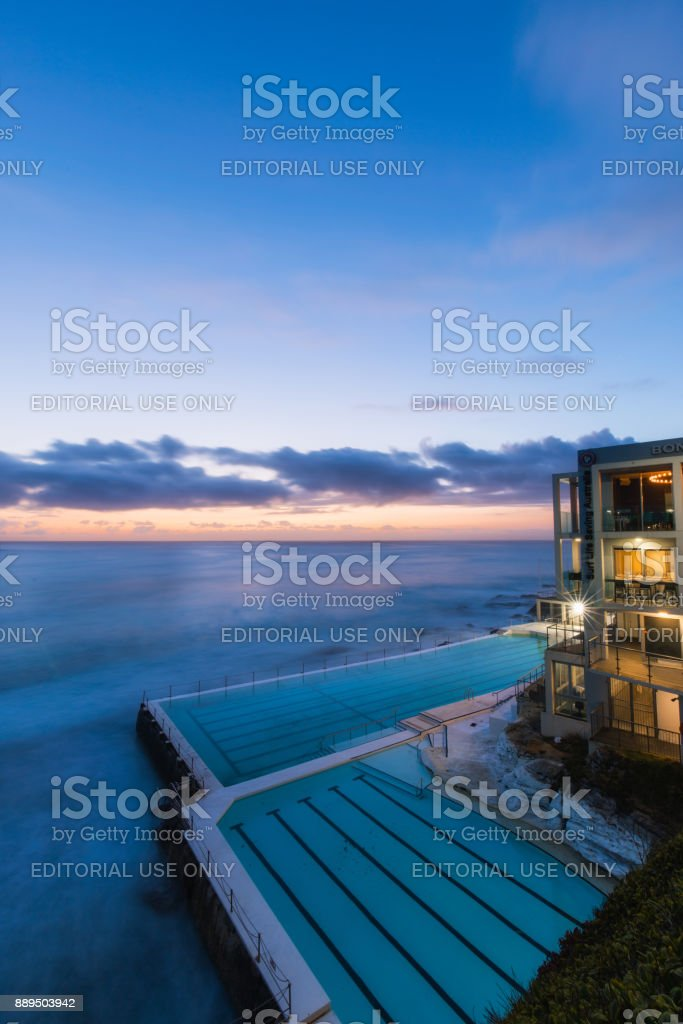 Blue hour Icebergs stock photo