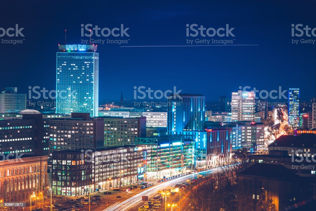 blue hour in Berlin stock photo