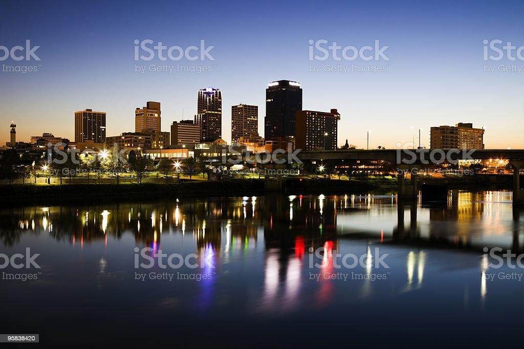 Blue hour in Little Rock stock photo