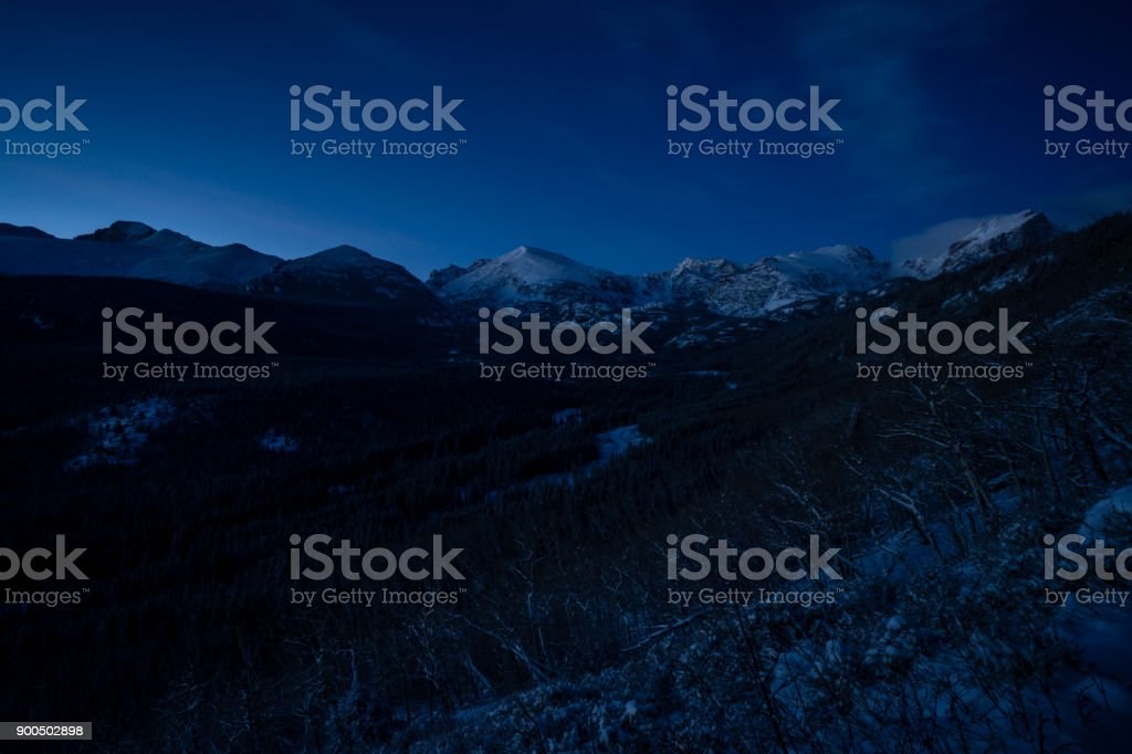 Blue Hour in Rocky Mountain National Park stock photo