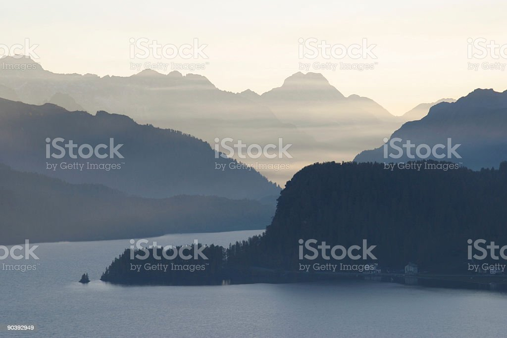 Blue hour in the alps stock photo