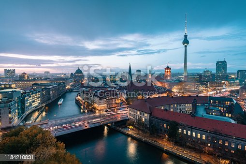 view over berlin with tv-tower and cathedral at blue hour