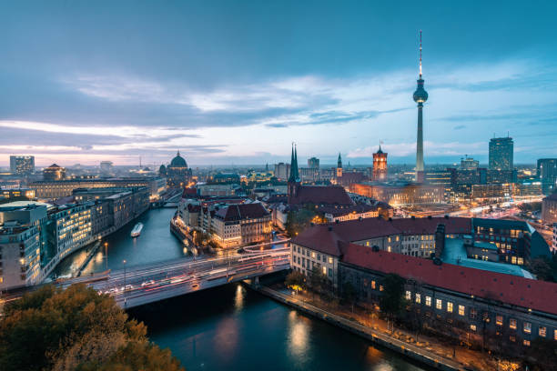 blue hour over Berlin cityscape view over berlin with tv-tower and cathedral at blue hour berlin stock pictures, royalty-free photos & images