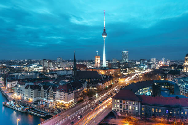 blue hour over Berlin cityscape stock photo