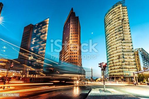 blue hour over Postdamer Platz in Berlin