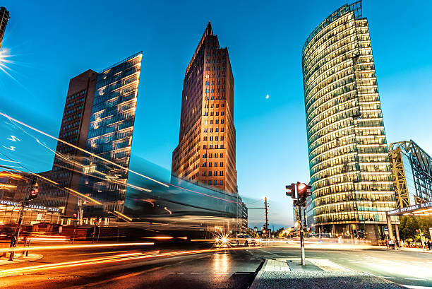 blue hour over Postdamer Platz in Berlin stock photo