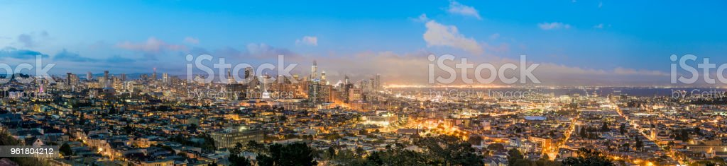 Blue hour panorama of  entire San Francisco skyline. stock photo