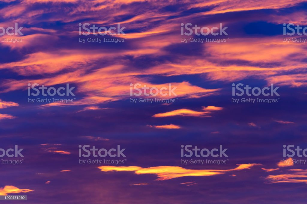 Blue Hour Blue hour right before the sunrise with rainbow clouds Ankara - Turkey Stock Photo