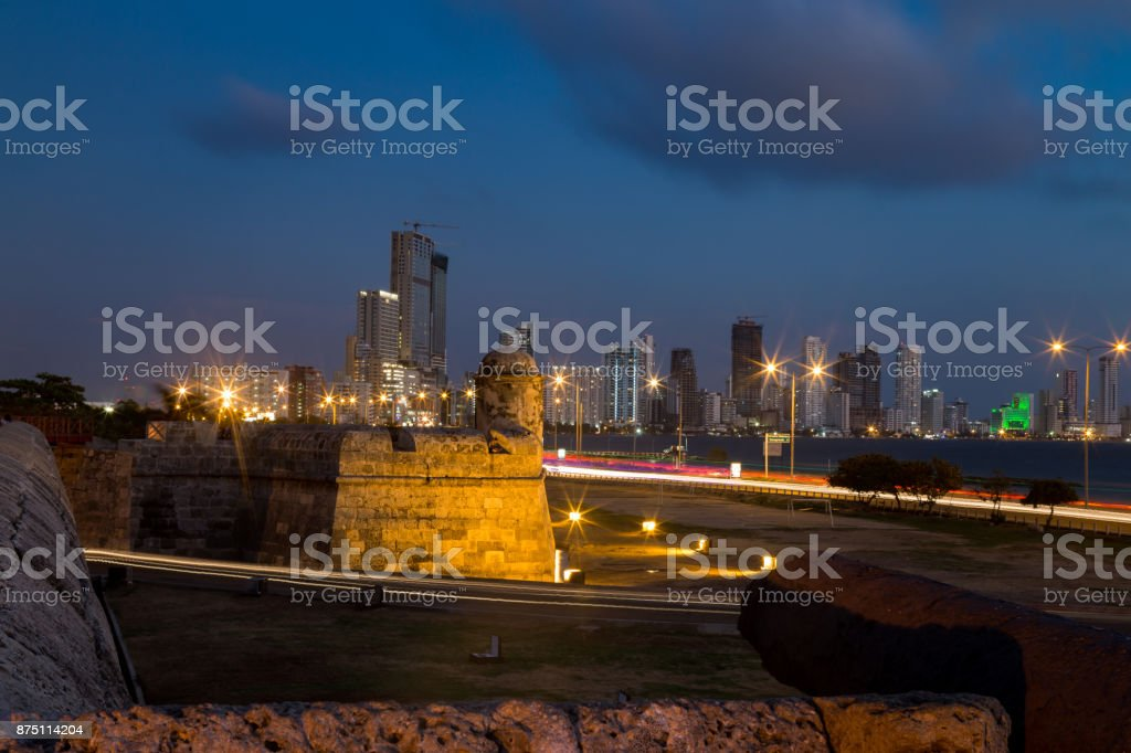 Blue hour view of Bocagrande and Colonial wall stock photo