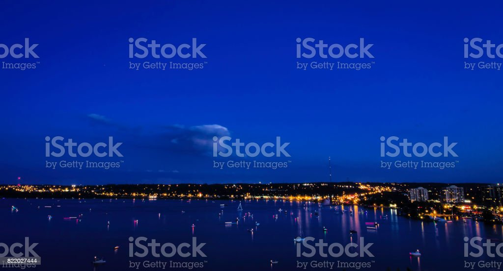 Blue Hour with Boats in a Harbour stock photo