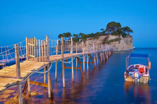 Blue hours over famous Cameo island in Zakynthos island - Greece. stock photo