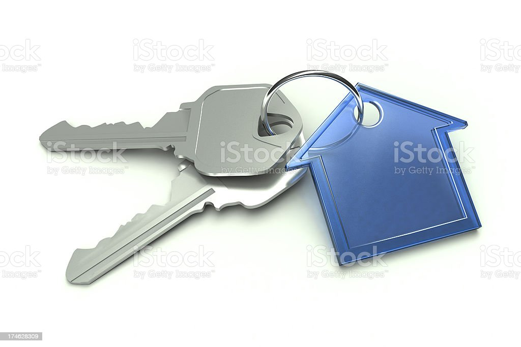 Blue House and Keys stock photo