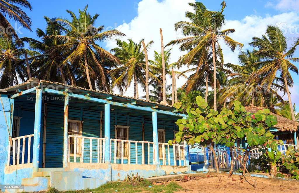 Blue house in Dominican Republic stock photo