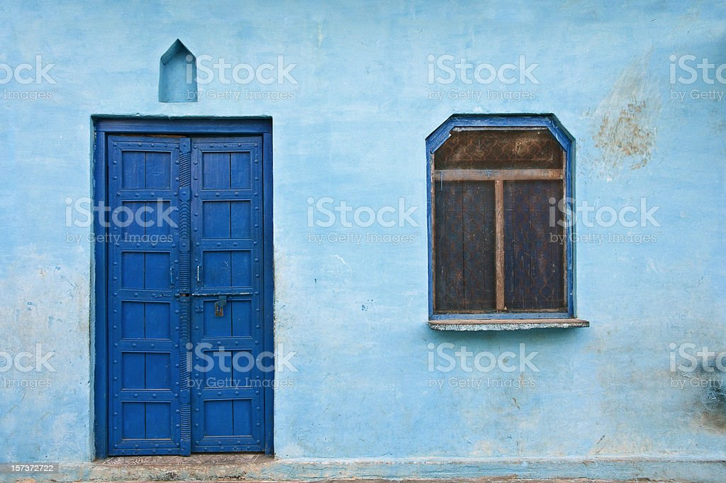Blue house stock photo