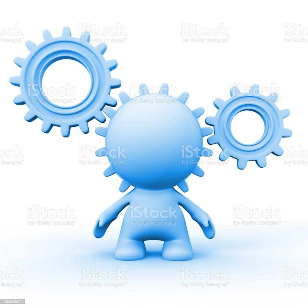 blue human person's head is part of a gear system (3d illustration on a white background) stock photo